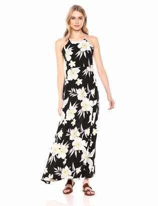 28 Palms Tropical Hawaiian Print Halter Maxi Dress Casual