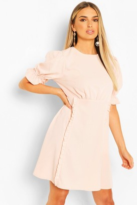 boohoo Puff Sleeve Ruffle Trim Skater Dress