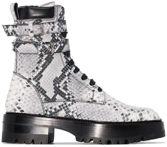 Amiri Snake-Embossed Combat Boots