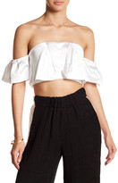 KENDALL + KYLIE Kendall & Kylie Ruffle Off-the-Shoulder Crop Tank