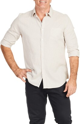 Johnny Bigg Serge Relaxed Fit Melange Button-Up Linen & Cotton Shirt