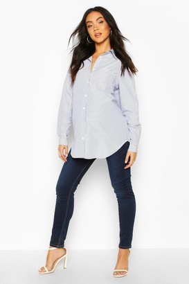 boohoo Maternity Oversize Stripe Woven Shirt