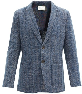 Etro Single-breasted Knitted Blazer - Blue