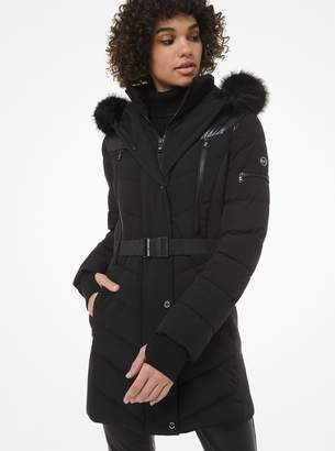 MICHAEL Michael Kors Faux Fur-Trim Belted Parka