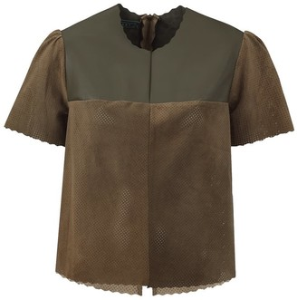 Manley Belle Leather T-Shirt - Kahki