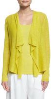Eileen Fisher Draped-Front Organic Linen Cardigan, Plus Size