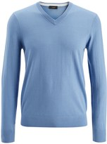 Joseph Merinos + Suede Patch V Neck Sweater in Steal