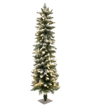 Perfect Holiday 5' Prelit Frosted Pencil Christmas Tree with 200 Led Lights
