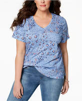 Style&Co. Style & Co Plus Size Cotton Printed V-Neck T-Shirt, Created for Macy's