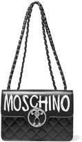 Moschino Printed Quilted Leather Shoulder Bag - Black