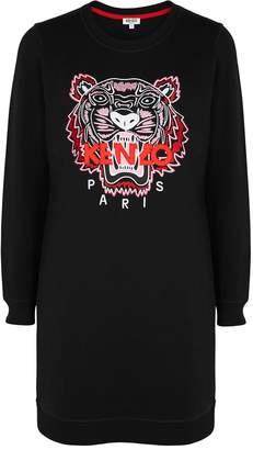 Kenzo Tiger-embroidered Cotton Sweatshirt Dress