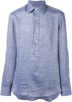 Salvatore Piccolo half button placket shirt - men - Linen/Flax - 42