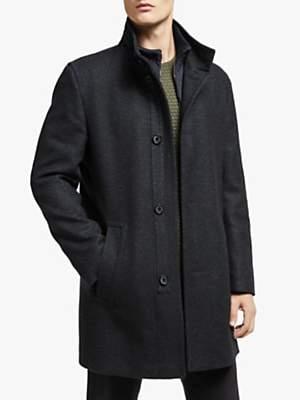 Bugatti Wool Blend Funnel Neck Overcoat, Navy