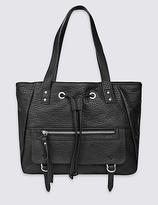 M&S Collection Faux Leather Drawstring Tote Bag