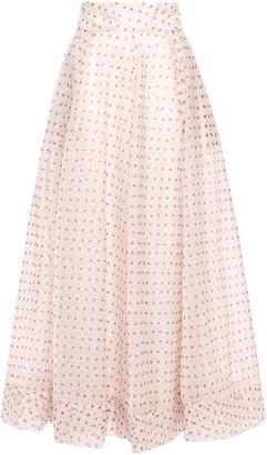 By Ti Mo Flared Polka-dot Organza Maxi Skirt