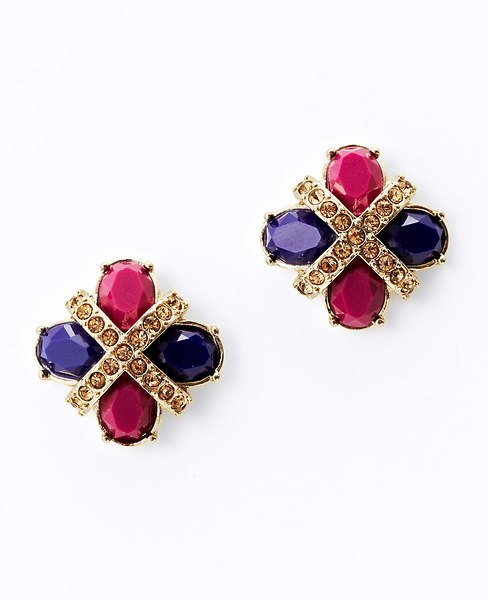 Ann Taylor Colorblocked Button Earrings