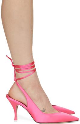 ATTICO Pink Satin Venus Slingback Heels