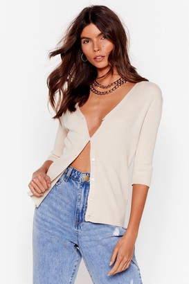 Nasty Gal Womens Knit's the One Button-Down Fitted Cardigan - Oatmeal