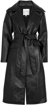 Mariam Al Sibai Black Crocodile-effect Faux Leather Trench Coat