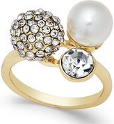 INC International Concepts Gold-Tone Crystal Pavé Imitation Pearl Triple Cluster Ring, Only at Macy's