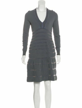 Alaia Fit & Flare Long Sleeve Dress Grey