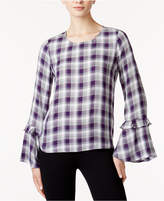 Maison Jules Plaid Bell-Sleeve Top, Created for Macy's