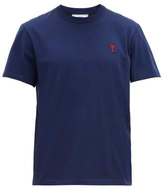 Ami Logo-appliqued Cotton T-shirt - Mens - Navy