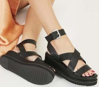 Office Miraculous Ankle Strap Flatform Heels Black