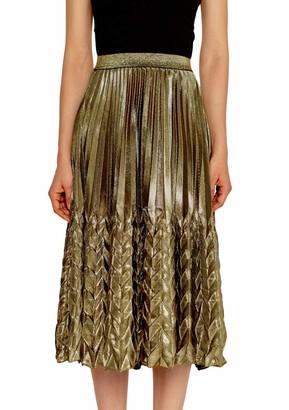 YMING Womens Casual Accordion Metallic Pleated Dress Elastic Waist Dress Mermaid Luster Party Work Office Midi Skirt Silver L