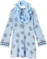 Beautees Light Blue Butterfly Shift Dress & Infinity Scarf - Girls