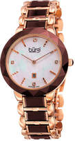 Burgi Womens Rose-Tone Stainless Steel Watch
