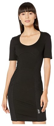 Versace Short Sleeve Scoop Neck Mini Dress with Mesh Net Insert (Black) Women's Clothing