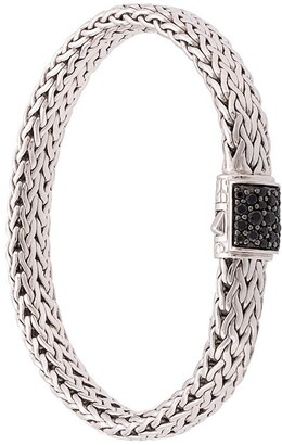John Hardy Silver Classic Chain Flat Chain Bracelet with Black Sapphire Clasp