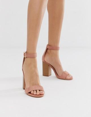Glamorous blush stacked square toe heeled sandals