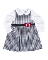 Florence Eiseman Belted Gingham Jumper w/ Long-Sleeve Blouse, Navy, Size 4-6