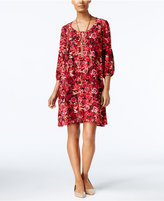 ECI Floral-Print Embroidered Shift Dress