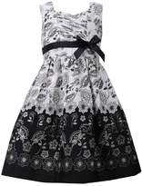 Bonnie Jean Little Girls Black and Ivory Toile Dress