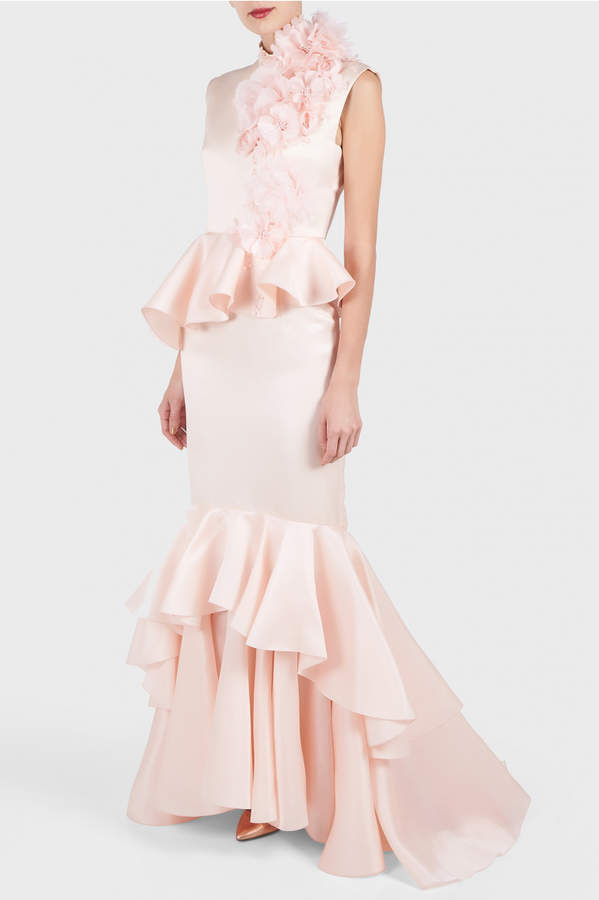 Andrew Gn Applique Flower Ruffle Gown