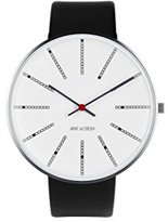 Arne Jacobsen Unisex Quartz Watch with White Dial Analogue Display and Black Leather Strap 53103