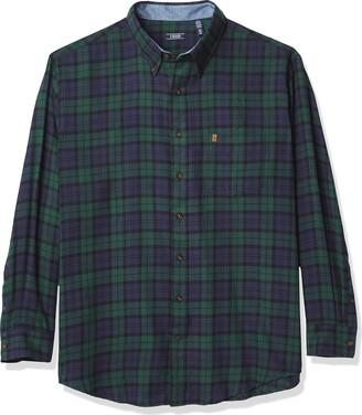 Izod Men's Big & Tall Big Advantage Performance Flannel Long Sleeve Stretch Button Down Shirt