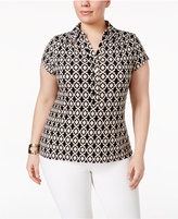 Charter Club Plus Size Printed Polo Shirt, Only at Macy's