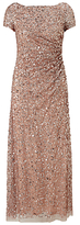Adrianna Papell Petite Draped Sequin Dress, Rose Gold