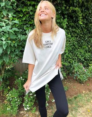 Monki Tori organic cotton girls support girls oversize t-shirt in beige