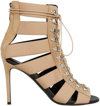 Balmain Lindsay Lace-Up Tan Sandals