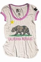 Rebel Yell CA Bear Ringer Tee in Bubblegum White