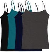 Simlu Women's Camisole Built-in Shelf Bra Adjustable Spaghetti Straps Tank Top Pack 2 Pk Bright Blue White
