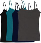Simlu Women's Camisole Built-in Shelf Bra Adjustable Spaghetti Straps Tank Top Pack 4 Pk Black Navy Charcoal Soft Teal