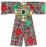 Gucci Brocade Crystal-embellished Brooch - Womens - Green