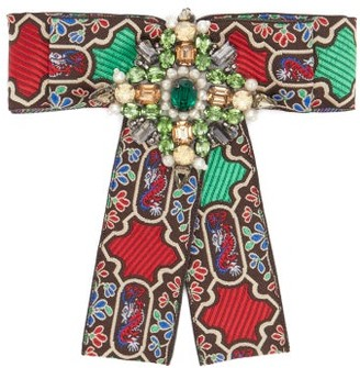 Gucci Brocade Crystal-embellished Brooch - Womens - Green