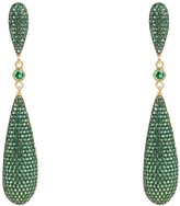 Latelita Coco Long Drop Earrings Green Cz